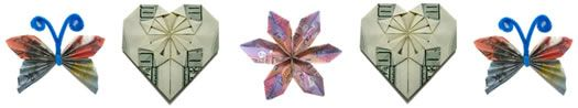 Money origami - turn your dollar bills into a hearts, flowers, and more!