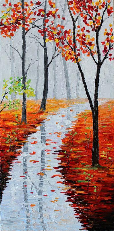"ORIGINAL Oil Painting Modern Palette Knife Landscape - ENDLESS FOG 20""x 10""x 1 1/2"" on Etsy, $179.00"