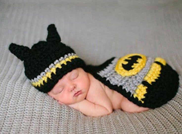 $10.99 Newborn Batman Baby Infant Knit Crochet Clothing Costume Photo Prop Hat Outfit #MadeinChina