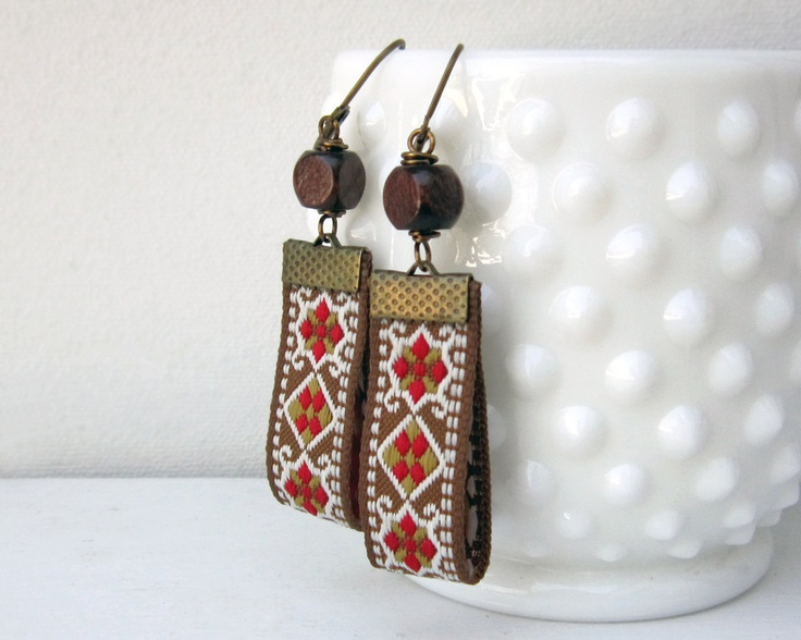 Cute, simple idea.  Boho Earrings, Brown, Red, Yellow, White Fabric, Wood Beads, Bohemian Jewelry. $22.00, via Etsy.