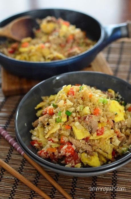 Slimming Eats Chicken Fried Cauliflower Rice - gluten free, dairy free, Whole30…