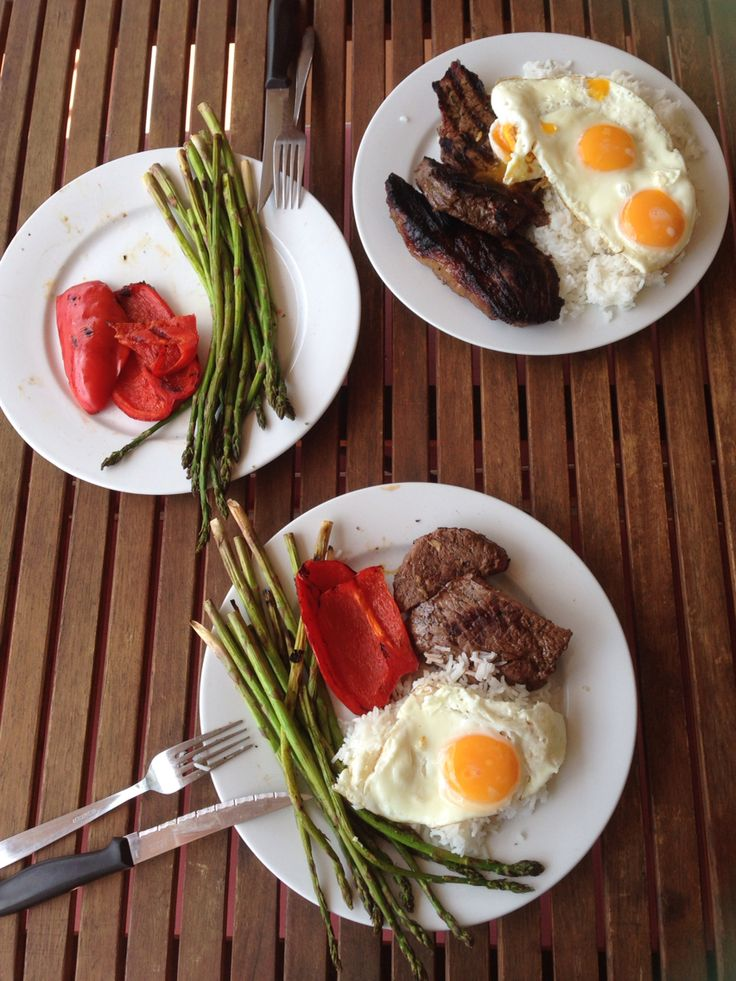 Steak , egg , rice , veggies  Sometimes you just need to find what you have left in the fridge and throw it in a plate  Fat/ Carbs/ Protein