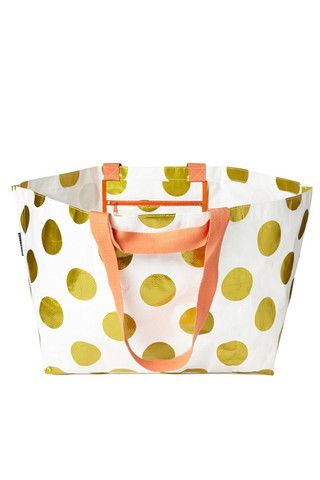 Project Ten Gold Polka Dot Oversize Tote Bag - The Ultimate Beach Bag