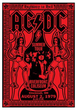 AC/DC - ACDC - ac dc - lot 5 different retro artistic concert posters AC/DC. Camilla Lenora