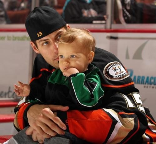 Ryan Getzlaf with his son