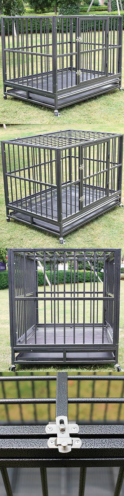 Cages and Crates 121851: 42 Heavy Duty Dog Cage Crate Kennel Metal Pet Playpen Portable W/ Tray New BUY IT NOW ONLY: $185.99