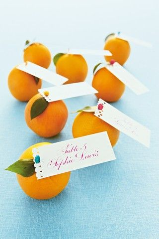 except with lemons. I never thought about using pins to push the cards into the fruit.