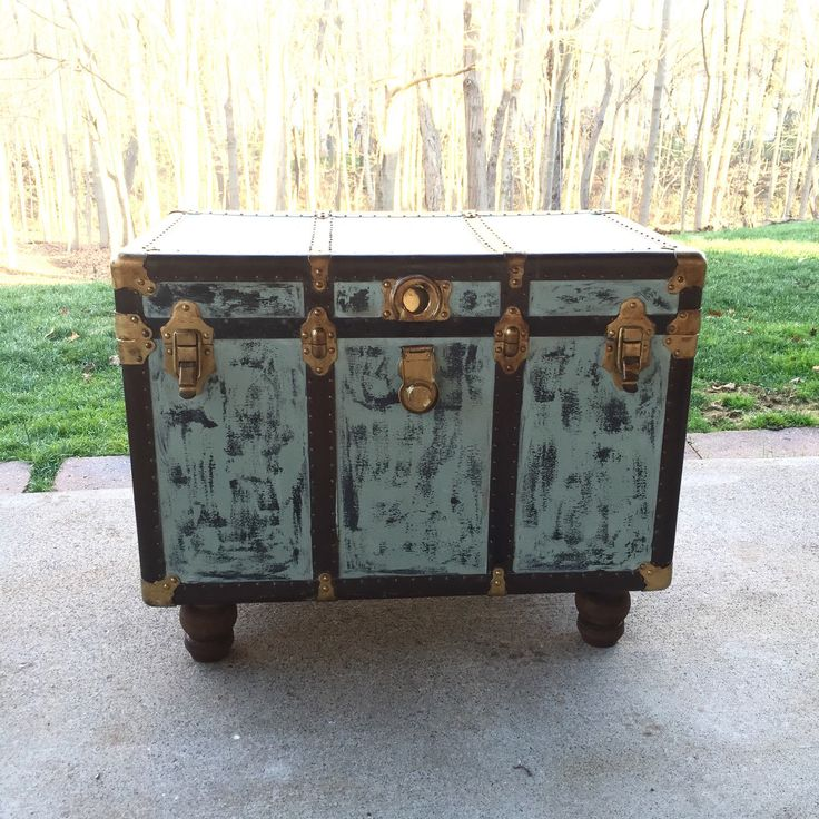 Vintage Steamer Trunk Coffee Table   Side Table By Madenewdesignct On Etsy  Https://