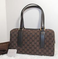 Gucci small boston denim brown