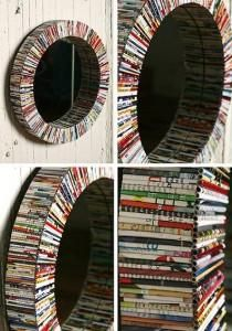 specchio con riviste riciclate