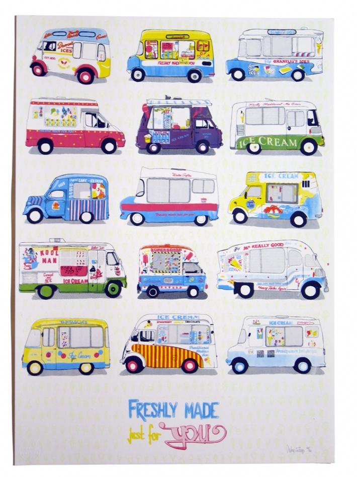 Ice Cream Van Screen Print By Oschon Wespi Tschopp