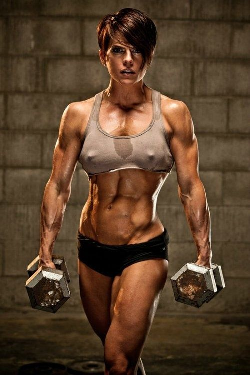 Nude female muscle fitness