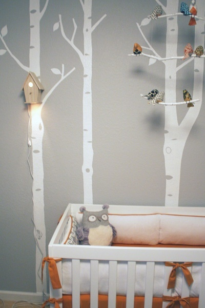 White tree wall decals are the perfect fit for a woodland inspired nursery. #nursery
