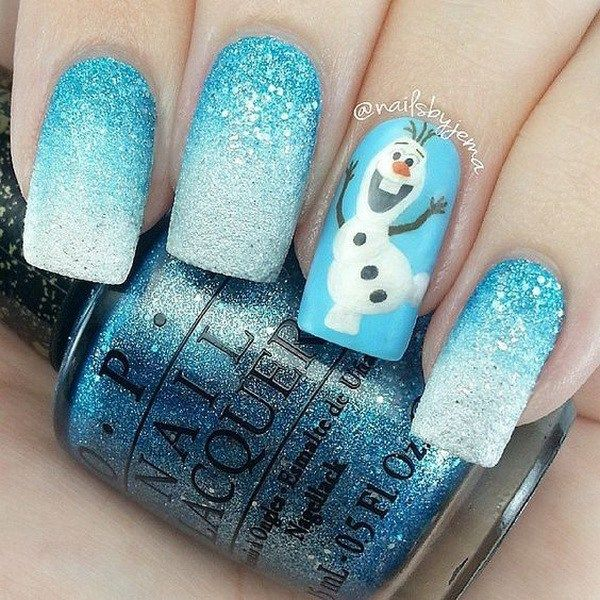 Blue Christmas Nails with Olaf Design.