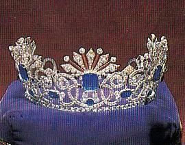 A sapphire and diamond tiara belonging to Tsarina Alexandra, which looks deceptively small here.