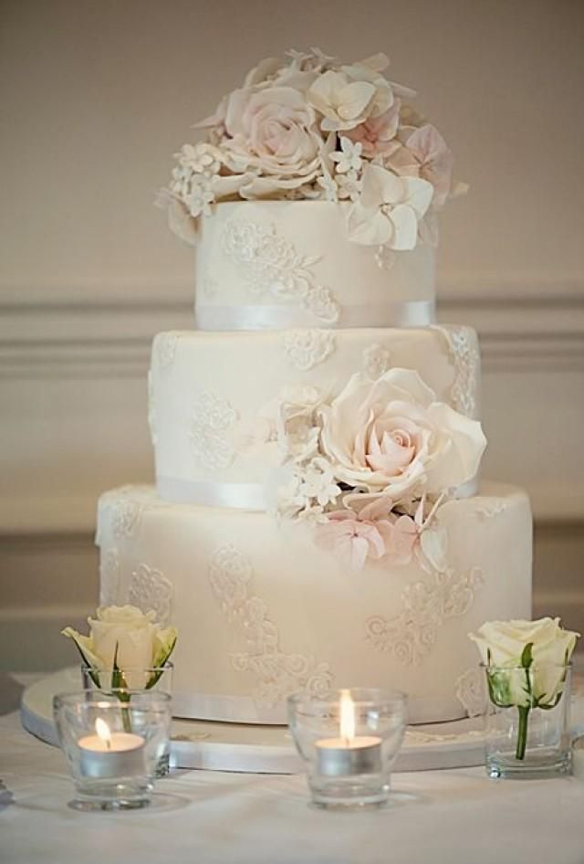 Weddbook is a content discovery engine mostly specialized on wedding concept. You can collect images, videos or articles you discovered  organize them, add your own ideas to your collections and share with other people - Ivory Wedding Cake with Lace Appliques