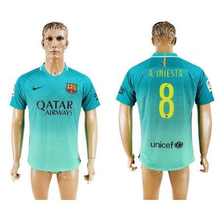 Barcelona 16-17 #Andres Iniesta 8 TRødje trøje Kort ærmer,208,58KR,shirtshopservice@gmail.com