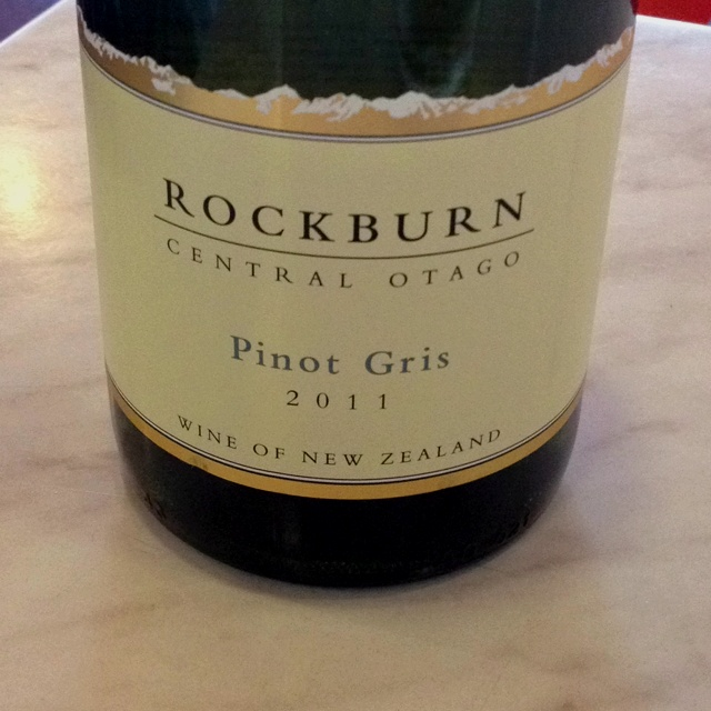 Rockburn Pinot Gris 2011 from Central Otago soon to be tasted whilst on the radio at Kiwi FM