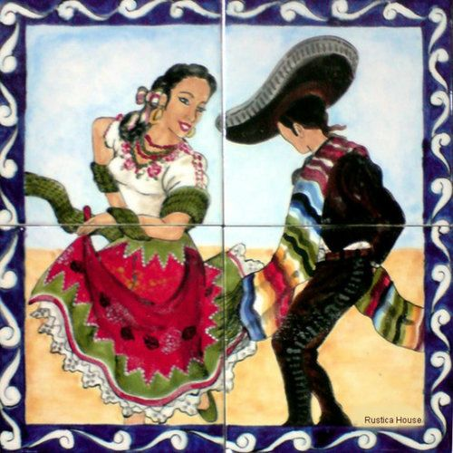 """A rustic tile mural looks pretty on a kitchen wall backsplash, bathroom wall or table-top. Mexican Dance mural sku 19133 is available in custom made dimensions. rustic tiles can be also installed in swimming pools, fountains and outside of the buildings. Handcrafted Tile Mural """"Mexican Dance"""" by Rustica House. #RusticaHouse"""