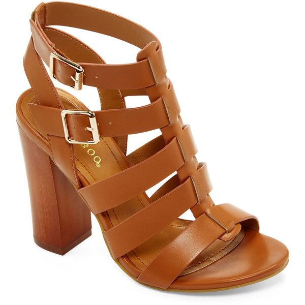 Bamboo Embark Chunky Gladiator Sandals (£22) ❤ liked on Polyvore featuring shoes, sandals, heels, zapatos, heeled sandals, strap heel sandals, chunky heel shoes, wide heel sandals and greek sandals