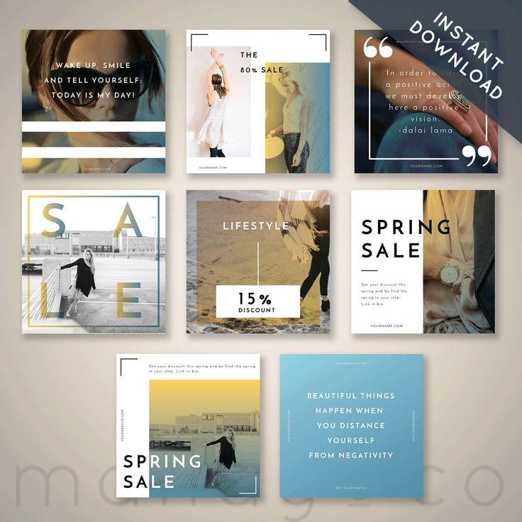 Instagram Kit, Social media templates, instagram post, photoshop, instagram templates, bright, marketing kit, modern, minimal by MandyandCo on Etsy