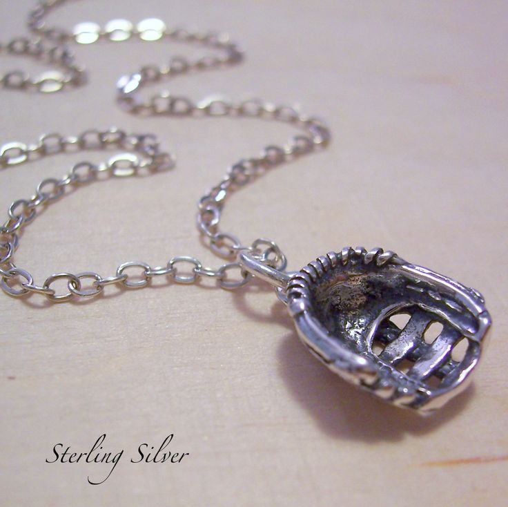 Softball Baseball Glove Charm Necklace - Sterling Silver Charm and Chain - Madison Craft Studio A La Carte - Build Your Own Necklace. $26.00, via Etsy.