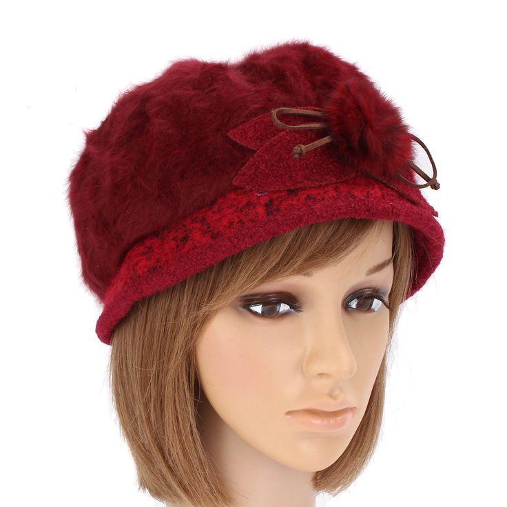Women Woolen Beret Wool Brim Cap Newsboy Knitting Faux Rabbit Fur Elastic Baggy Top Hats at Banggood