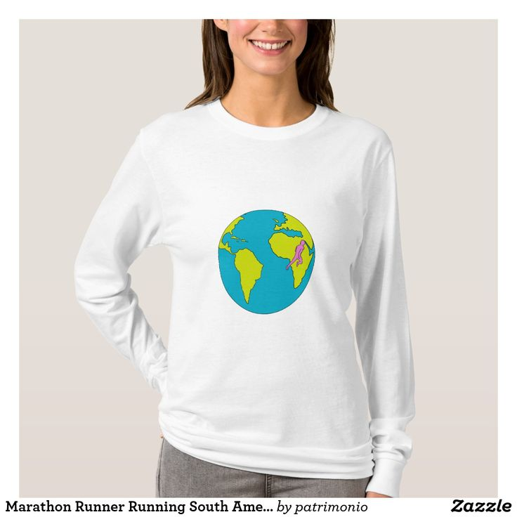 Marathon Runner Running South America Africa Drawing. Long sleeve t-shirt for women featuring a drawing style illustration of a marathon triathlete runner running viewed from the side set inside a globe showing South America and Africa. #marathon #runner #tshirt