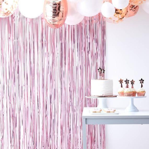 Light Pink Foil Fringe Curtain Decoration Girls Baby Shower Etsy