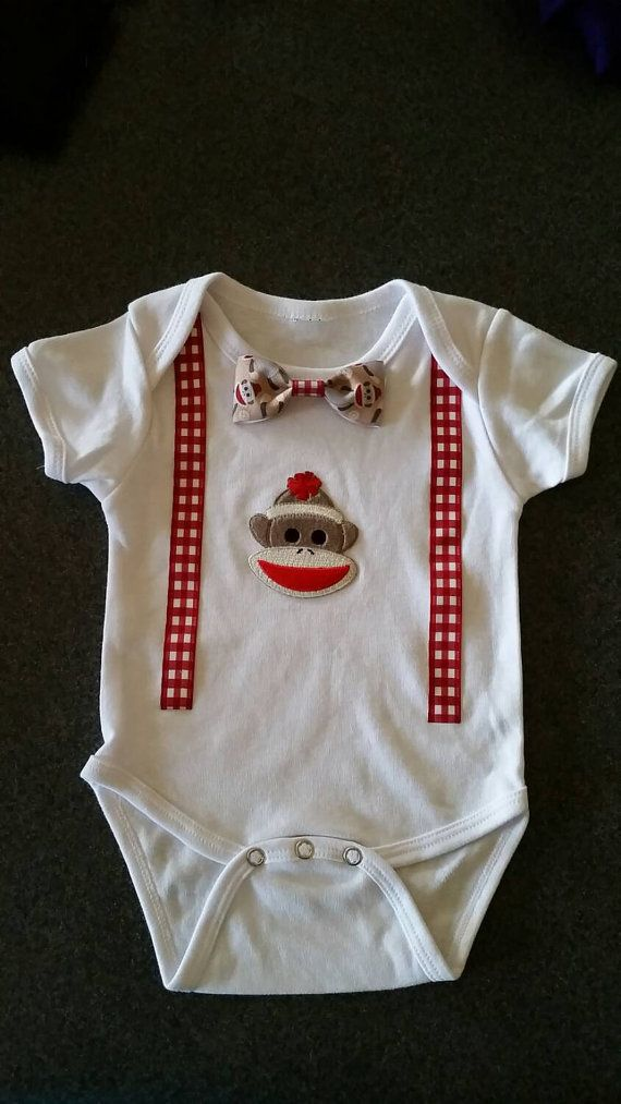 Hey, I found this really awesome Etsy listing at https://www.etsy.com/listing/232804141/sock-monkey-onesie-with-suspenders-and