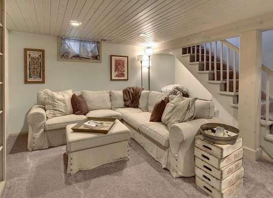 Wooden Plank Basement Ceiling
