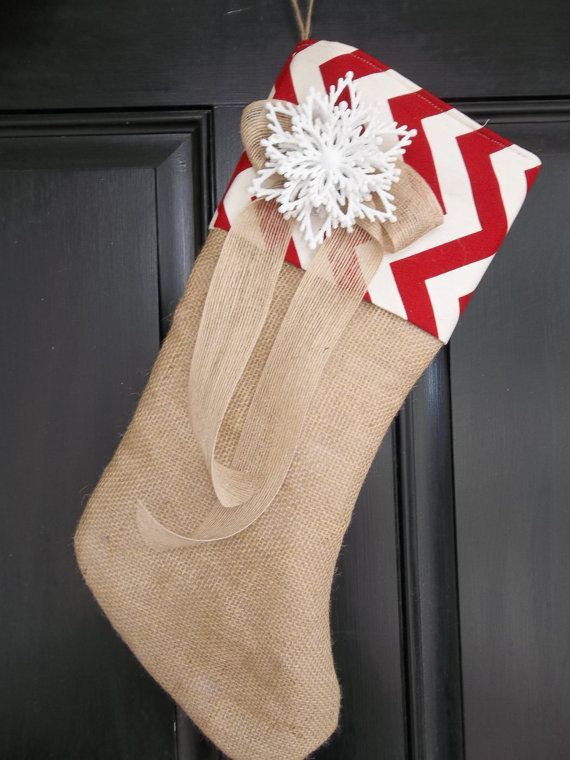 Unique Burlap And Red Chevron Christmas Stocking With