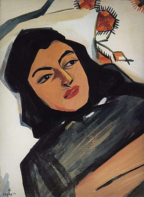 1912 Голова девушки (Мариам Тазахулахян). К., т. 69.3х51.5 ГТГ - Сарьян Мартирос Сергеевич