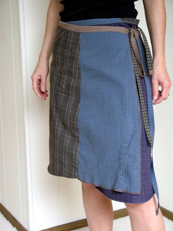 Turnaround Designs wrap skirt made from upcycled men's shirts
