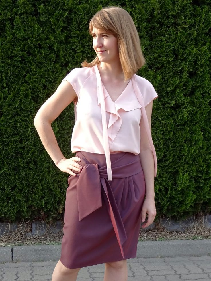 Bluzka (109 A) i spódnica (117 A), Burda 2017, zgaszone lato; wool blouse and wool skirt, soft summer