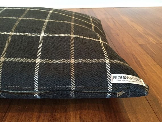 Black Plaid Dog bed covers black dog bed cover Plaid by PlushPup