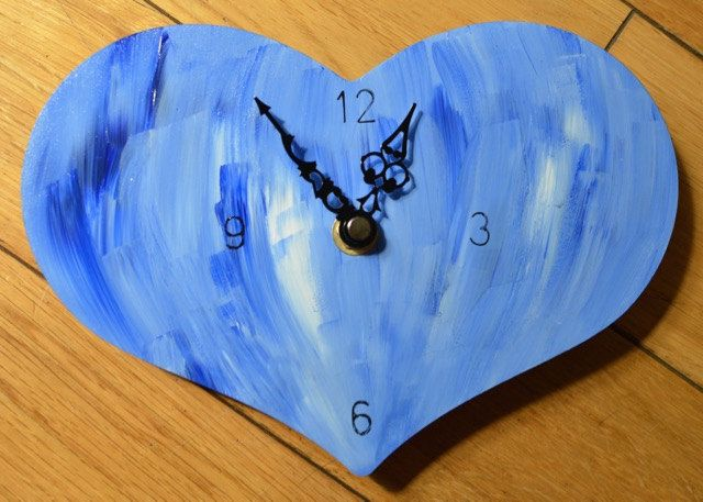 Blue Abstract Heart wall clock, non-ticking, solid wood [MDF], Small clock, Bedroom clock, BFF gift, Blue and white clock, handpainted clock by ArtDecadance on Etsy
