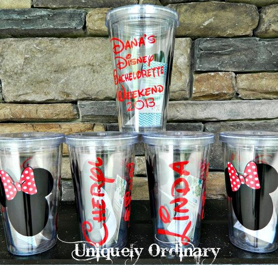 { can some one have their bachelorette party in disney this is adorable!!!!!}   Set of 3 (THREE) Disney Minnie Mouse Themed Bachelorette Weekend Getaway Tumblers Disneyworld Mickey Minnie Disneyland