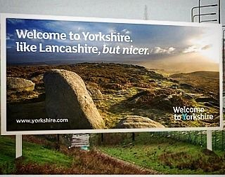 Always makes me smile 😊 😂😂 #yorkshire #godscountry #scenesofyorkshire #betterthanlancashire #thewhiterose #advertising #loveforyorkshire #yorkshirescenery #york @welcometoyorkshire