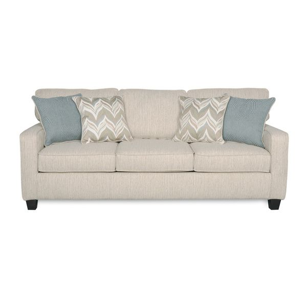 Sofab austin almond three seat sofa with four accent for Sofa 3 cuerpos casanova austin