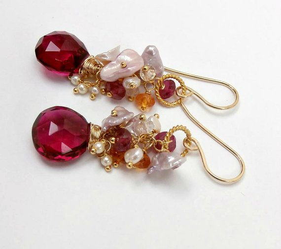 Pink Topaz Cluster Earrings, Blush Keishi Pearls, Wire Wrap Multicolor Gemstones, Wedding Jewelry, Pearl Post Dangle Earrings on Etsy, $95.00