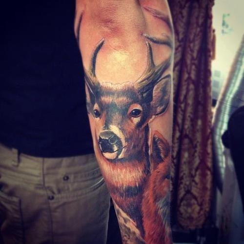 Buck tattoo. Amazing detail!