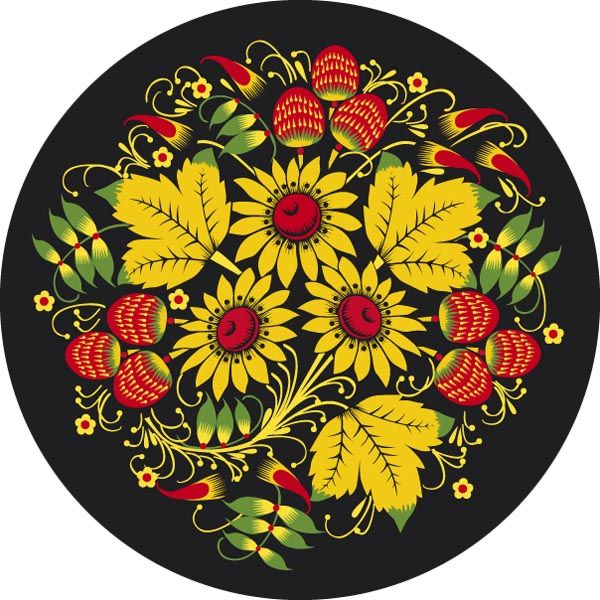 Folk Khokhloma painting from Russia. A round  floral pattern with leaves and…