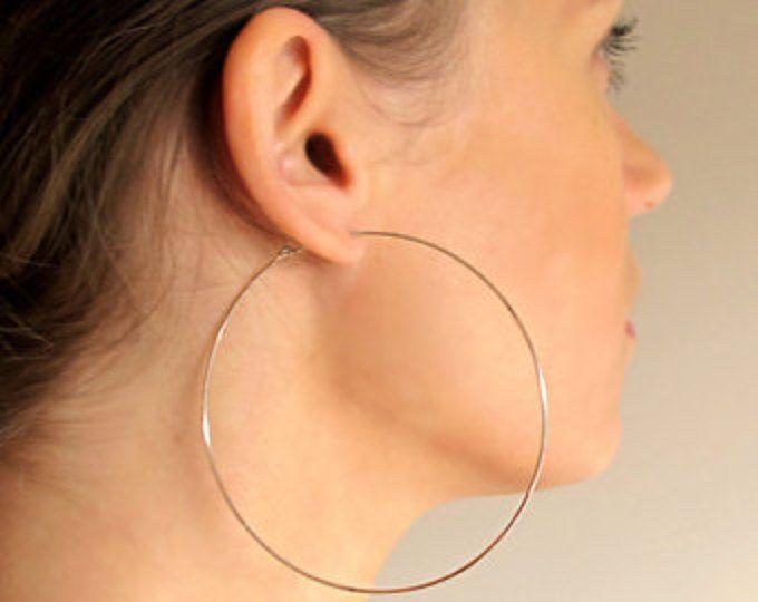 Large Gold Hoop Earrings 3 Inch Gold Hoops Big Hoops Large Etsy In 2020 Big Hoop Earrings Large Hoop Earrings Big Earrings