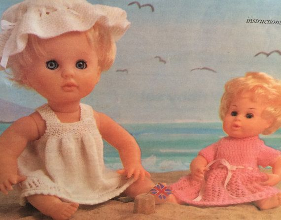 A very popular vintage Pattern for a dolls day at the seaside, this pattern is for Baby type dolls in 3 sizes 30,40 and 50cm  This is a great