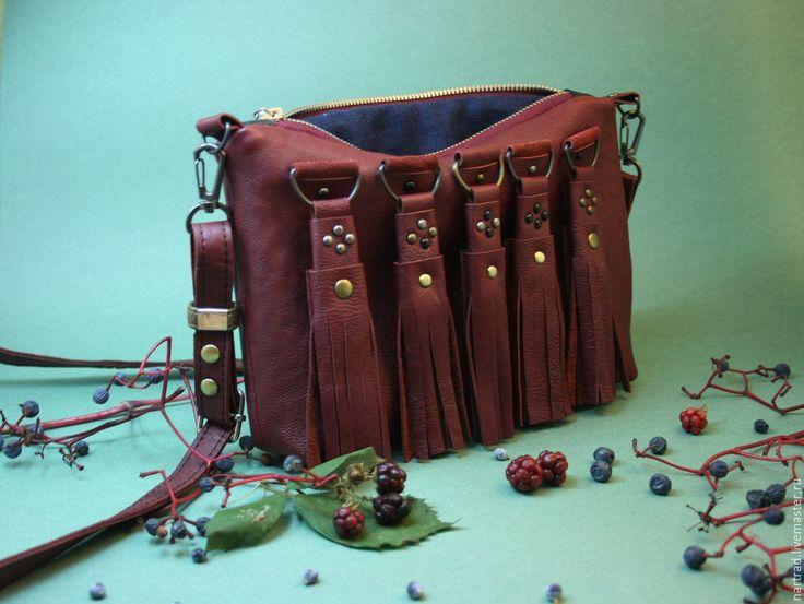 Купить Кожаная сумочка Девичий виноград - бордовый, сумочка, маленькая сумочка, кожаная сумочка, бохо