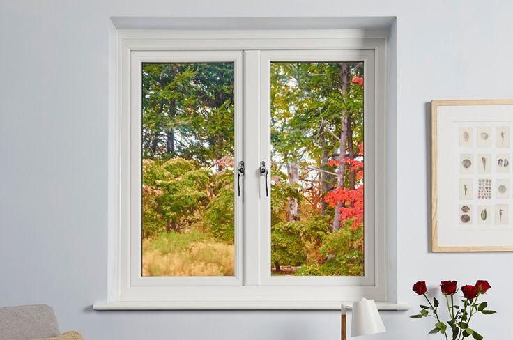 Closed white uPVC Casement windows with chrome handles
