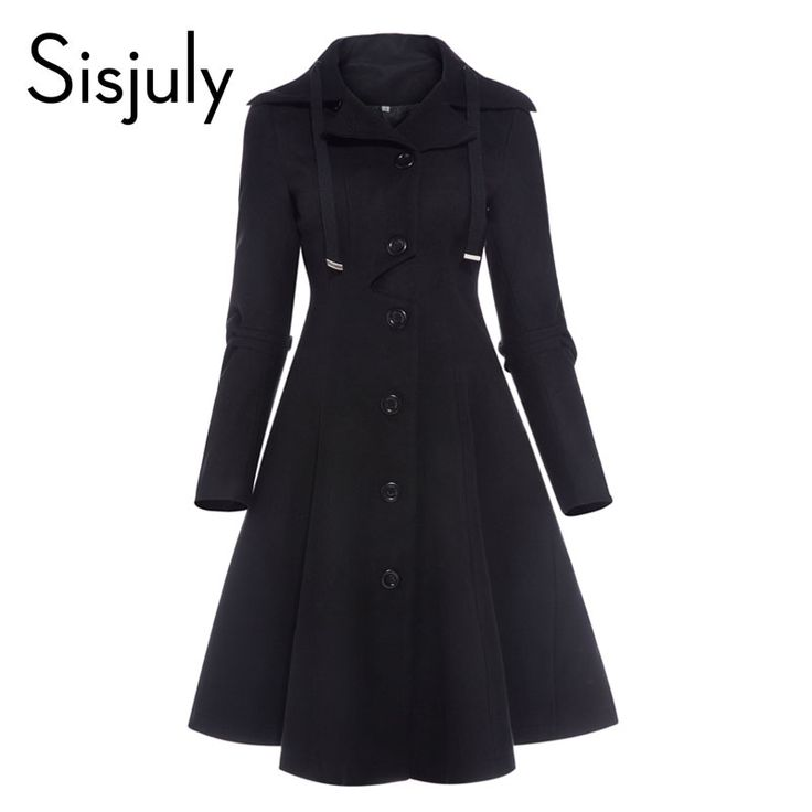 Cheap women coat, Buy Quality solid coat directly from China a coat Suppliers: Sisjuly women coat autumn black vintage gothic a line elegant winter asymmetric overcoat goth lace up natural retro solid coats