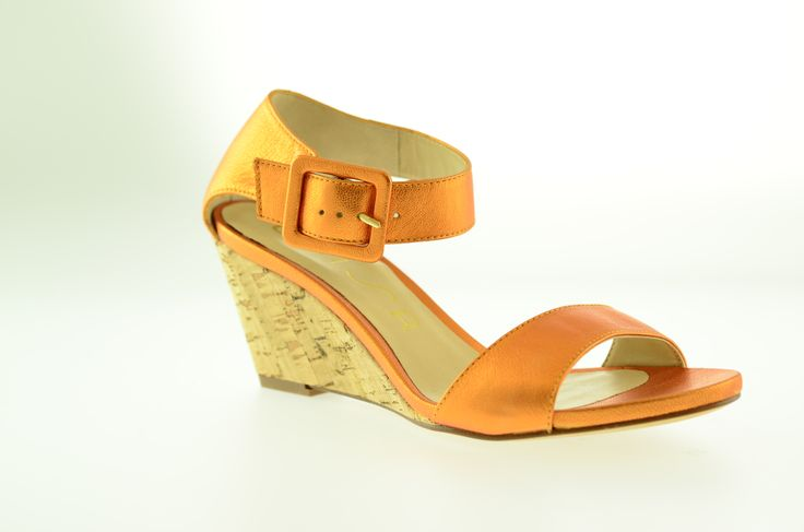 Whats that you say? Metallic Orange leather with comfy cork wedge? Hot