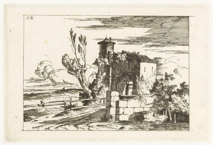 Louis Gabriel Moreau   Poortgebouw met ronde toren, Louis Gabriel Moreau, 1770 - 1779   Een poortgebouw in een landschap.